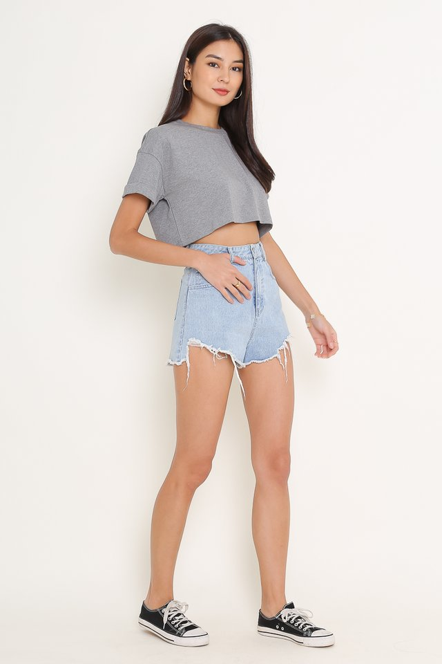 *BACKORDER* CASSIE CROPPED TOP (HEATHER GREY)