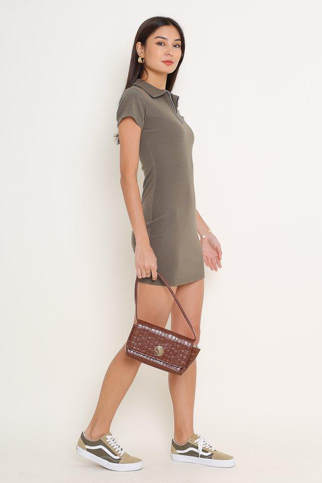 RONNIE RING ZIP DRESS (GUNMETAL)