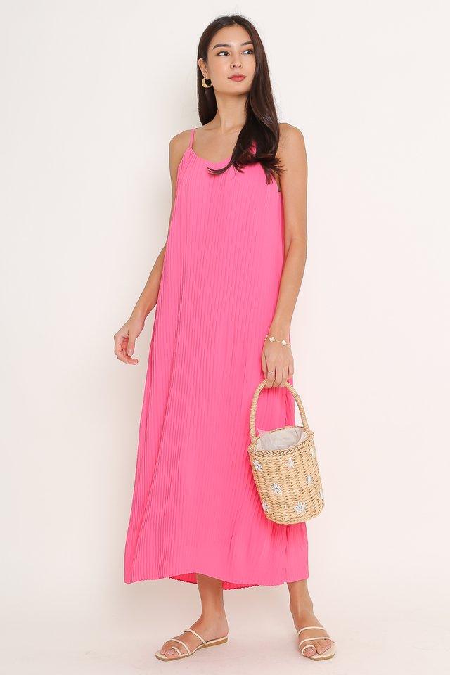 PETRINA PLEATED DRESS (HOT PINK)