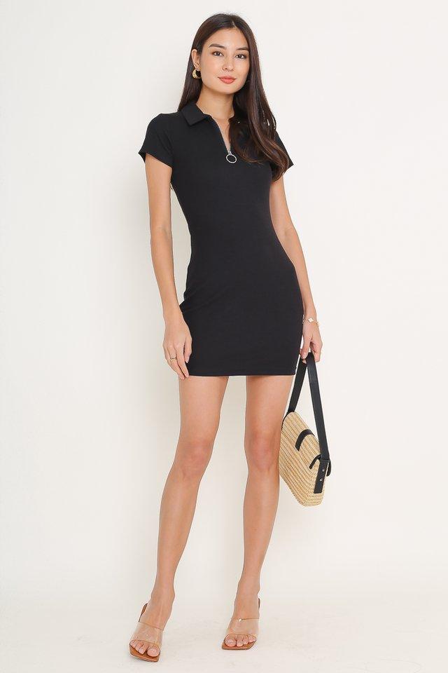 RONNIE RING ZIP DRESS (BLACK)