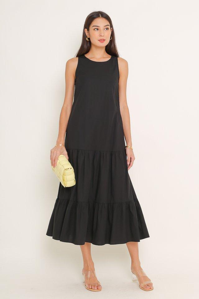TRICIA TIERED MAXI DRESS (BLACK)