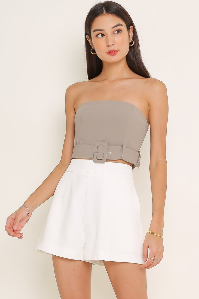 *BACKORDER* BETSY BUCKLE TUBE TOP (LIGHT TAUPE GREY)