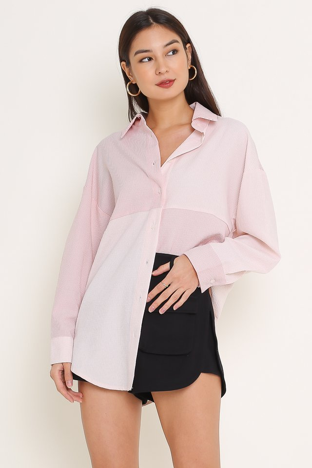 CAMRY COLOURBLOCK STRIPE SHIRT DRESS  (PINK STRIPES)