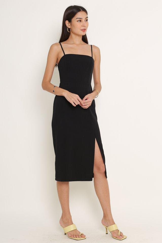 SERAPHINA SLIT HEM DRESS (BLACK)