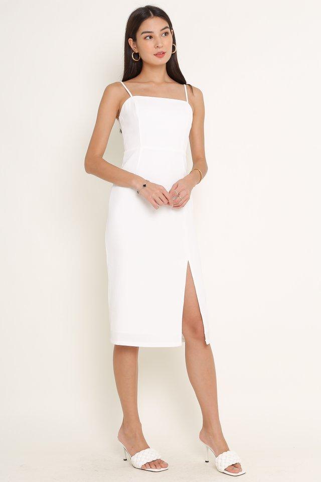 SERAPHINA SLIT HEM DRESS (WHITE)