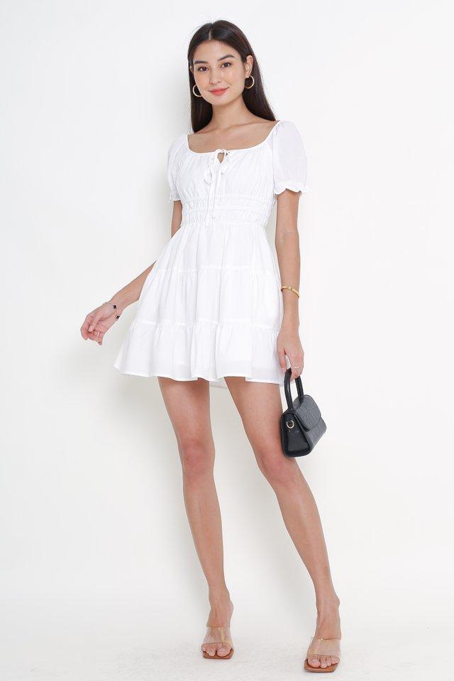 SALLY SKATER TIERED DRESS (WHITE)